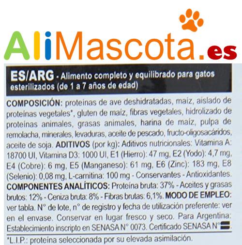Composición del pienso para gatos esterilizados Royal Canin